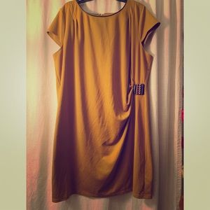Mustard dress with dark brown trim